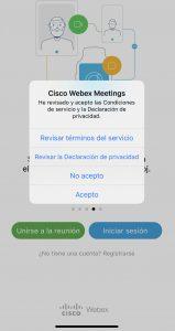 webex Iphone aceptar condiciones