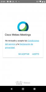 Android WebEx Condiciones